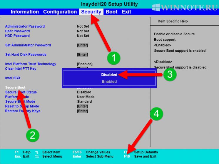 Как отключить (включить) безопасную загрузку (Secure Boot) в UEFI BIOS