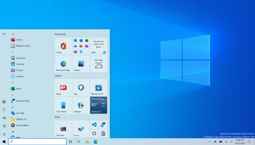 новое меню пуск Windows 10