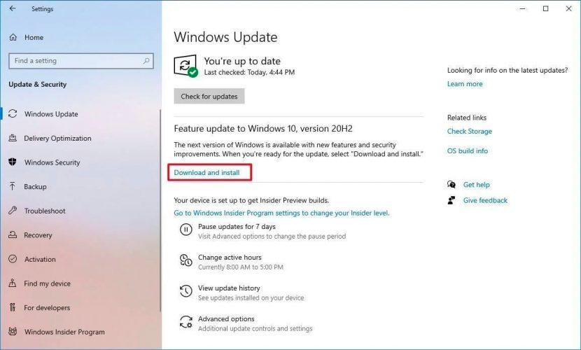 Установка Windows 10 20H2