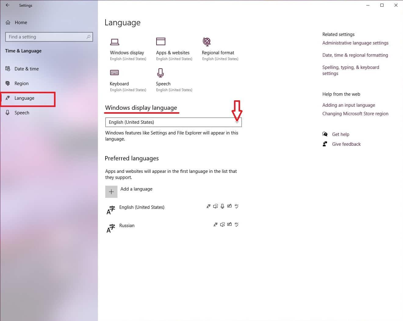 Windows display language